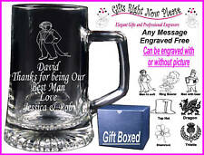 Engraved Glass Tankard Best Man - Usher Gift - Boxed