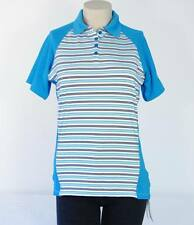 Under Armour Golf Blue Stripe Heatgear Short Sleeve Polo Shirt Women NWT