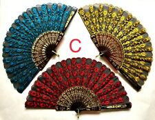 Lot of 3 Spanish Embroidered Cloth Folding Hand Fan NEW