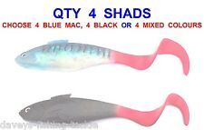 4 X 18cm CURLY FIRE TAIL SHADS FOR SEA FISHING BOAT ROD COD LURES USE JIG HEADS