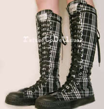 Punk Goth Unisex KNEE HI PUNK Black & White Tartan BOOT