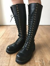 Punk 20 Hole Slim Biker Vegan Leather Lace Knee-hi Boot