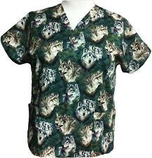 CUSTOM MADE  COWBOYS/WOLVES /BAMBI NURSING SCRUB TOPS