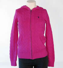 Ralph Lauren Hooded Pink Cable Knit Cotton Sweater NWT