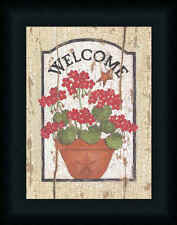 Welcome Geraniums by Linda Spivey Country Sign 9x12 Framed Art Print Picture