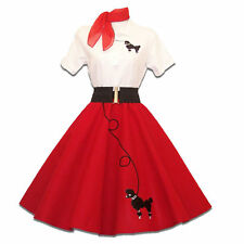 6 pc Adult 50's POODLE SKIRT Outfit Costume - Red