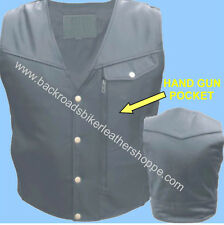 MENS LEATHER BIKER MOTORCYCLE CLUB VEST CONCEALED WEAPON POCKET SIZES 40-60