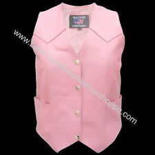 Ladies Women's Pink Leather Motorcycle Biker Vest Sizes XS-5X