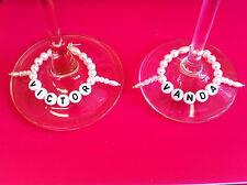 Wedding-engagment-champagne flute-glass wine-place marker-decoration-charm 1-6