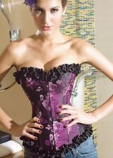 Sexy Purple Victorian Floral Ruffled Gothic Satin Corset Bustier + G-String #195