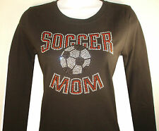 RHINESTONE (SOCCER MOM) LONG SLEEVE T-SHIRT, BLACK SIZE: S,M,L,XL, TANK TOP,TOPS