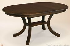 Amish Dining Room Table w/Leaf Modern Casual Solid Wood Furniture Oval New