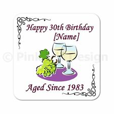 Personalised 40th | 50th | 60th | 65th | 70th Birthday White Wine Gift Coaster