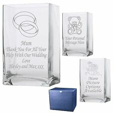 Engraved  Rectangle Vase Engagement- Wedding Gift Present