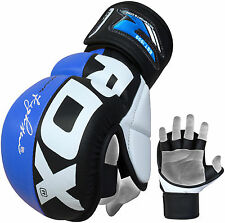 Authentic RDX Leather Gel Tech MMA UFC Grappling Gloves Fight Boxing Punch Bag H