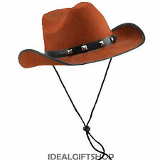 WOMEN'S & MEN'S COWBOY TRAMPAS WILD WEST FANCY DRESS HAT BROWN BLACK WHITE