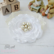 Ivory Cream Pearl Flower Lace Girls Baby Hair Headband Christening Lilly Belle