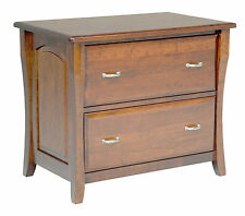 Amish File Cabinet Solid Wood Wooden Lateral 2 Drawer Office Home New