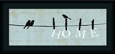 Birds on a Wire Home by Alain Pelletier Blue Sign Laundry Room Décor 20x8 Framed