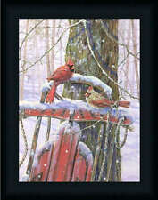 Red Sled With Cardinals Winter Scene Wall Décor Framed Art Print Wall Décor
