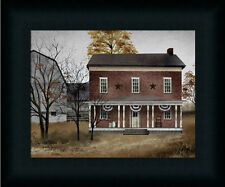 The Old Tavern house Primitive Folk Art Landscape Framed Art Print Décor 8x10