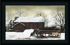 Christmas Wagon by Billy Jacobs Red Barn Country Farm Framed Art Print  12x20