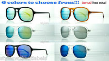 Vintage Key Hole Style 80s Retro Aviator Sunglasses Blue Fire Mirror Lens