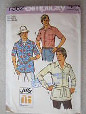 VINTAGE Simplicity Sewing Pattern 7362 Teen Boys Mens JIFFY Shirt Patch Pockets