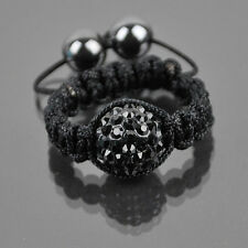 Czech Crystal Pave Clay Shamballa Style Friendship Hip Hop Ring