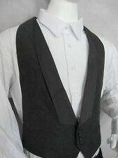 MEN'S CHARCOAL BLACK BACKLESS TUXEDO VEST, VINTAGE, 4 BUTTONS / MADE IN USA