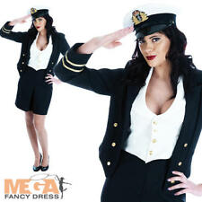 WW2 Navy Ladies 1940s Fancy Dress 40s Military Army Uniform Costume Outfit + Hat