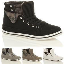 WOMENS LADIES FLAT LACE UP SPORTS HIGH HI TOP PUMPS TRAINERS SHOES SIZE