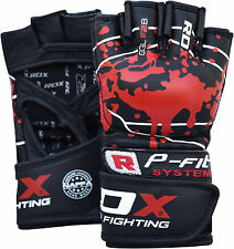 Authentic RDX Leather Gel Tech MMA UFC Grappling Gloves Fight Boxing Punch Bag B