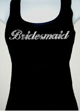 RHINESTONE (BRIDESMAID) TANK TOP BLACK SIZE:S,M,L,XL, TOPS T-SHIRT FREE SHIPPING