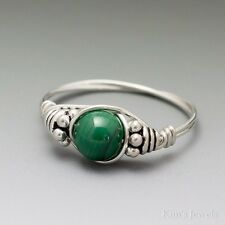 Green Malachite Bali Sterling Silver Wire Wrapped Bead Ring ANY size
