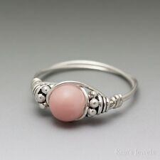 Peruvian Pink Opal Bali Sterling Silver Wire Wrapped Bead Ring ANY size