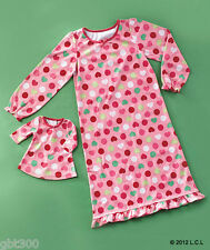 "Matching Girl & 18"" Doll Pink Dot Nightgowns Christmas Pajamas Fits American"