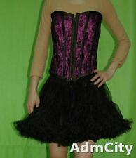 Zipper Front Satin and Lace Corset with Metal Boning and Lace Up Back Purple L