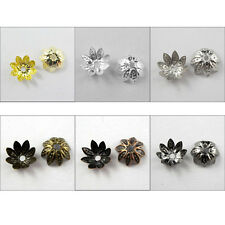 100Pcs Lotus Flower Bead Cap 10mm Gold,Silver,Bronze,Copper,Black etc. R351