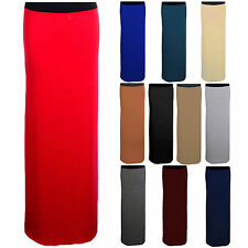Womens Gypsy Maxi Plain Long Coloured Elasticated Jersey Dress Ladies Skirt 8-14