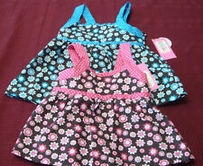 INFANT GIRLS  2PC PINK OR BLUE DAISEY TOP & SHORTS SET SIZES 12 & 24 MONTHS  NWT