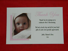 TC4 Personalised Photo Thank You Cards - Christening New Baby Baptism Girls Pink