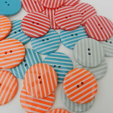3 large stripey buttons 34mm diameter variety colours