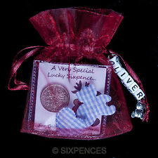 PERSONALISED BABYS FIRST CHRISTMAS GIFT LUCKY SIXPENCE KEEPSAKE BABYS NAME