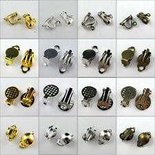 50 Grid Flat Pad Clip On Earring DIY Gold,Silver,Bronze etc.Wholesale R344-3