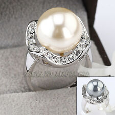 A1-R042 Fashion 14mm Pearl Ring 18KGP use Swarovski Crystal
