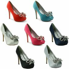 Ladies Womens High Heel Platform Evening Party Peep Toe Court Shoes Pumps UK 3-8