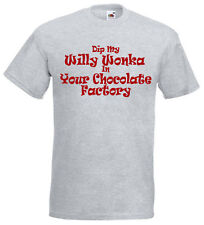 Dip My Willy Wonka ... Funny / Rude Grey Joke T-Shirt - NEW - Front Print