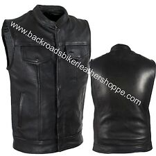 Leather Club Style Conceal Carry Vest w/ snap & Zipper Closure biker motorcycle