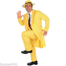 90S ADULT MENS YELLOW GANGSTER ZOOT SUIT THE MASK JIM CARREY FANCY DRESS COSTUME